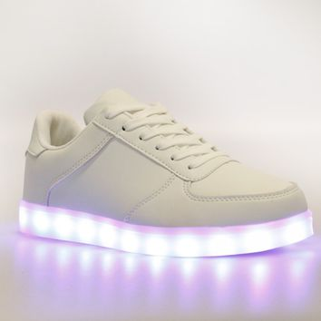 Sasha LIGHT UP Trainers In White Faux Leather