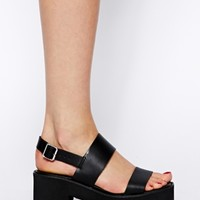 River Island Black Farely Heeled Sandals