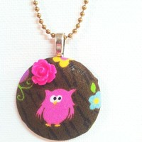 Pinky the Woody Owl Fabric Button Necklace from Kute As a Button Shop