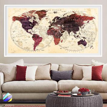 XL Poster Push Pin World Map travel cities Art Print Photo Paper watercolor Wall Decor Home (frame is not included) (P20) FREE Shipping USA!