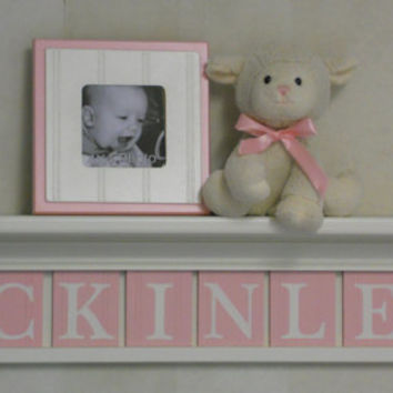"Wooden Letter Baby Girl - Wooden Name Signs Nursery Decor 30"" Shelf Linen White with 8 Wooden Wall Letter Plaques in Light Pink - MCKINLEY"