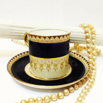 ON SALE Antique Aynsley Demitasse Set, Can Cup, Saucer, Cobalt, Gold Gilt, Pattern 9213, 1934-1939