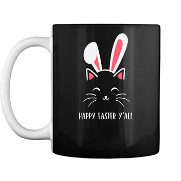 Happy Easter April Fools Day Shirt Funny Bunny Ears Cat Face Mug