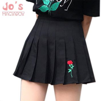 2018 New Fashion Cotton High Haist Floral Embroidery Casual Ball Pleated Skirts Harajuku Mori Girls A-line Sailor School Skirts