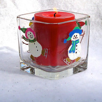 Skating Snowman Candle Holder