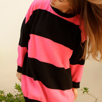 90s simple STRIPED pink & blue grunge SLOUCHY warm sweater