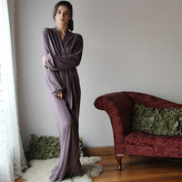 womens long robe with bishop sleeve and wrap closure - wool blend womens lounge wear lingerie and sleepwear range - MALLARD - made to order