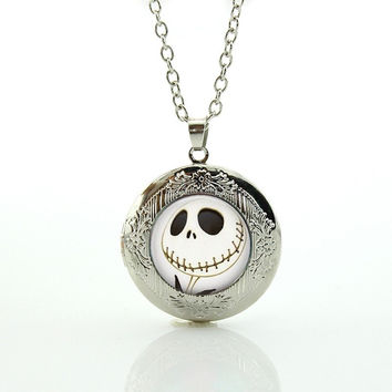 Halloween gifts Nightmare Before Christmas Locket Necklace Glass art Jack Skellington punk skeleton skull pendant jewelry N753