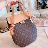 LV Louis Vuitton Hot Sale Women Shopping Bag Leather Handbag Tote Shoulder Bag Brown