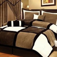 Chezmoi Collection Micro Suede Patchwork 7-Piece Comforter Set, Queen, Black/Brown/White