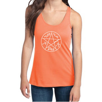 Supernatural Inspired Clothing - Devil's Trap Symbol Semi-Fitted Racerback Tank - Ladies