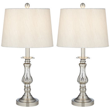 "Pacific Coast Lighting PCL Ammolite Flute 25"" H Table Lamp with Empire Shade (Set of 2)"