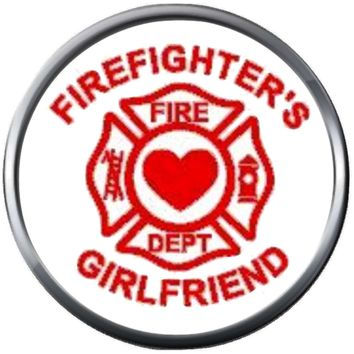 Red Maltese Heart Cross Firefighter Girlfriend Thin Red Line Courage Under Fire 18MM-20MM Snap Charm Jewelry New Item