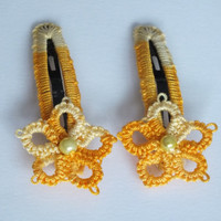 Set of Two Flower Tatted Hair Clips, Yellow-Orange Tatting Hair Clips, Set of Two Tatted Snap Clips, Tatted Yellow Flower Hair Pins,