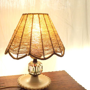 Short Milk Glass Lamp, Crystal Tray Lamp, Vintage Table Lamp, LAMP BASE ONLY