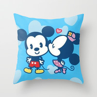 Mousing Around in Love Throw Pillow by Pink Berry Pattern