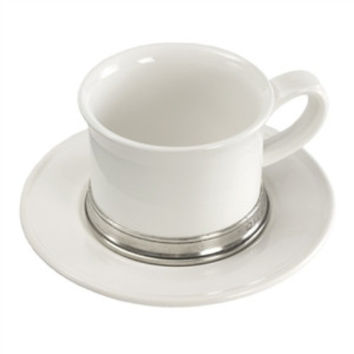Match Pewter Convivio Tea and Cappuccino Cup and  Saucer