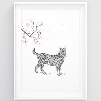 Animal prints for nursery, Instant download PRINTABLE art, Cat art print, Cat print, Cat decor, Cat poster, Woodland creatures, Wild cat art