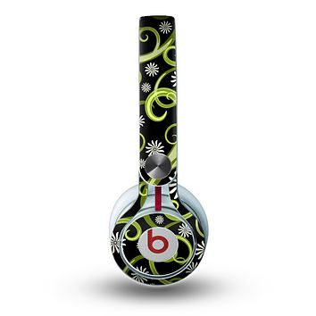 The Green Floral Swirls on Black Skin for the Beats by Dre Mixr Headphones