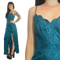 vintage 80s teal lace cocktail maxi dress costme mermaid party dress small