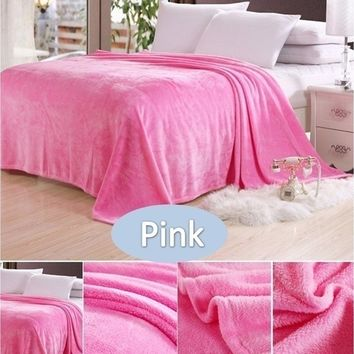 Fashion Large Size Solid Coral Fleece Blanket Plaid Couverture Polaire Manta Para Sofa Throw Blankets on Bed Home Mantas 11 Colo