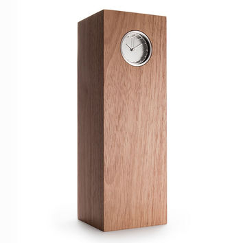 LEFF Tube Wood Table Clock in Steel/Natural Hevea