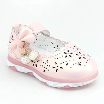 Baby Pink LED Shoe with Scalloped Edge an Bead Detail