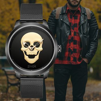 Skull Quartz Watch Men Black Mesh Strap Unique Design