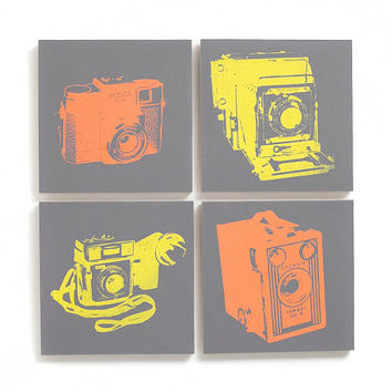 8 x 8 Vintage Camera Canvas Set of 4 (Gray Traditional Wood Cradled Panel w/ Coral & Yellow) Screenprint/Painting, Camera Decor