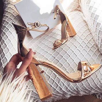 Fashion large size sandals, women's thick heels, high heels, open toes, women's shoes