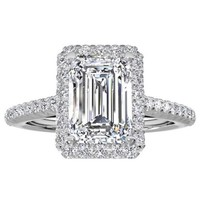 14k White Gold 3/4ct TDW Halo Emerald Diamond Engagement Ring | Overstock.com Shopping - The Best Deals on Engagement Rings