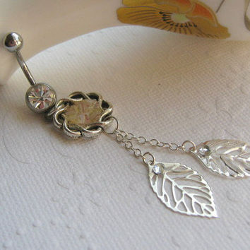 Leaf Belly Button Ring, Belly Button Jewelry, Navel Ring, Dangle Belly Ring, Stained Glass
