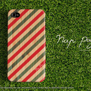 Apple iphone case for iphone iphone 5 iphone 4 iphone 4s iPhone 3Gs  : green and red stripe line pattern on wood (not real wood)