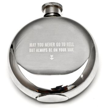 Izola May You Never Go To Hell 5oz Hip Flask : Hemingway and Pickett