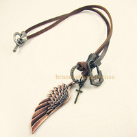 Jewelry leather necklace cross necklace chain necklace men necklace women necklace made of bronze wings and brown leather  XL-2454