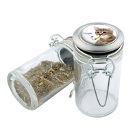 Glass Stash Jar - Smokin Cat - Storage Container -  Custom Herb Grinder Secret Stash Box - Stay Fresh Herbs 1/6 oz.