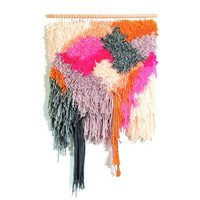 Furry Tutti-Frutti IceCream // Handwoven Tapestry Wall hanging Weaving Fiber Art Textile Art Woven Home Decor Jujujust