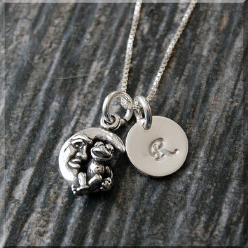 Sterling Silver Frog on Moon Necklace, Frog and Crescent Moon Pendant, Personalized Charm Necklace, Initial Charm Moon Necklace