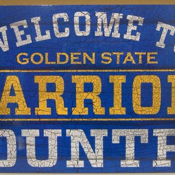"GOLDEN STATE WARRIORS WELCOME TO WARRIORS COUNTRY WOOD SIGN 13""X24'' WINCRAFT"