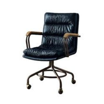 ACME Hedia Top Grain Leather Office Chair in Vintage Blue