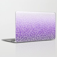 Ombre purple and white swirls zentangle Laptop & iPad Skin by Savousepate