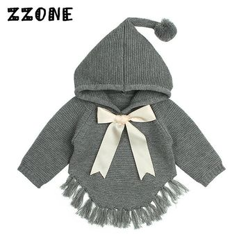6M-24M Baby Girls Winter Clothes Kids Bow Decoration Knitted Pullovers Jumper Newborn Tassel Hooded Long Sleeve Sweater,DC502