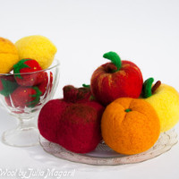 Play fruit. Kitchen decor. Eco-friendly educational toy. Waldorf. Set of any 10 psc of your choice. 100% wool.Needle felted