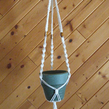 "Free shipping :-) Lots of Knots - 44"" macrame plant hanger."