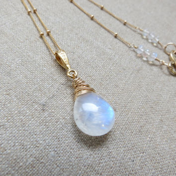 Rainbow Moonstone Gold Filled Necklace ~ Luxury AAAA Lots of Blue Flash & Fire