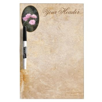 Vintage design. Photo of pink roses. Add your text Dry Erase Board