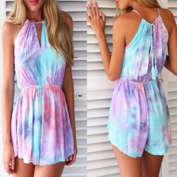 Fashion color printed sleeveless jumpsuits coloured drawing or pattern