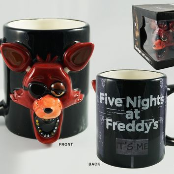 20oz OFFICIAL Five Night's at Freddy Foxy Face Molded Black Ceramic Coffee Mug