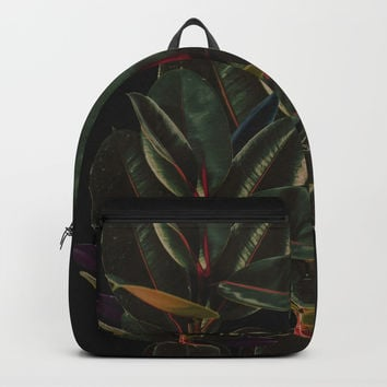 Rubber Plant Leaves Minimal Backpacks by lostanaw