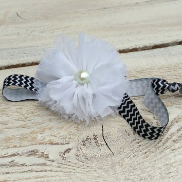 Shabby flower headband, white flower headband, big flower headband, fabric flower headband, baby headband,newborn headband,chevron headband